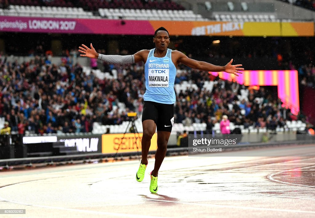 Isaac Makwala of Botswana reacts after competing in the Men's 200 metres qualification during day six of the 16th IAAF World Athletics Championships London 2017 at The London Stadium on August 9, 2017 in London, United Kingdom. Makwala was not allowed to compete yestrerday but was allowed to qualify today running on his own.