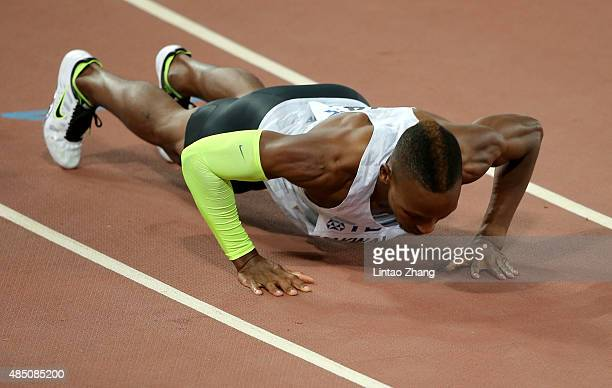Isaac Makwala of Botswana reacts after competing in the Men's 400 metres semi-final during day three of the 15th IAAF World Athletics Championships...