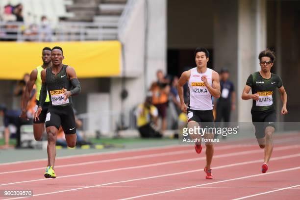 Isaac Makwala of Botswana Shota Iizuka of Japan and Kenji Fujimitsu of Japan compete in the Men's 200m during the IAAF Golden Grand Prix at Yanmar...