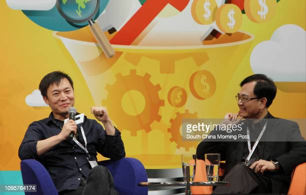 Isaac MAO Cofounder of Aivvy and Allen MA Chief Executive Officer of HKSTP on discussion at Entrepreneurship Symposium at Science Park Tai Po 03JUL15