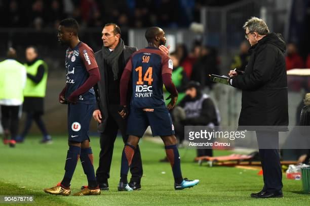 Isaac MBenza and Michel Der Zakarian Coach and Giovanni Sio of Montpellier during the Ligue 1 match between Montpellier and Monaco at Stade de la...