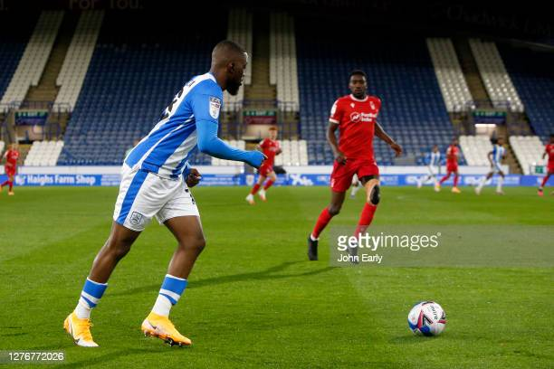 Isaac Mbenza of Huddersfield Town during the Sky Bet Championship match between Huddersfield Town and Nottingham Forest at John Smith's Stadium on...