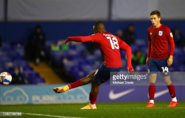 Isaac Mbenza of Huddersfield Town scores his sides first goal from a free kick during the Sky Bet Championship match between Birmingham City and...