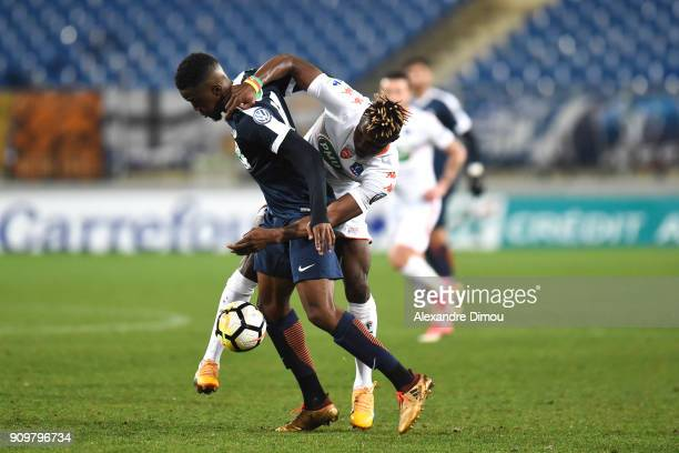 Isaac Mbenza of Montpellier and Franklin Wadja Tchantcho of Lorient during the French National Cup match round of 32 between Montpellier and Lorient...