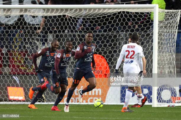 Isaac Mbenza of Montpellier celebrates after scoring a goal during the Ligue 1 match between Montpellier Herault SC and Olympique Lyonnais at Stade...
