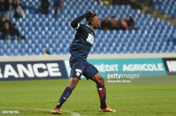 Isaac Mbenza of Montpellier celebrates his Goal during the French National Cup match round of 32 between Montpellier and Lorient on January 24 2018...
