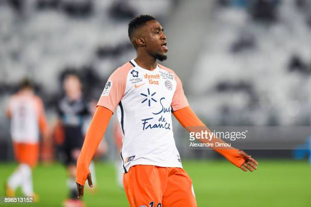 Isaac Mbenza of Montpellier celebrates his Goal during the Ligue 1 match between FC Girondins de Bordeaux and Montpellier Herault SC at Stade Matmut...