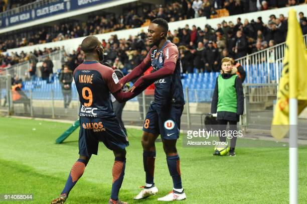 Isaac Mbenza of Montpellier celebrates scoring during the Ligue 1 match between Montpellier and Angers at Stade de la Mosson on February 3 2018 in...