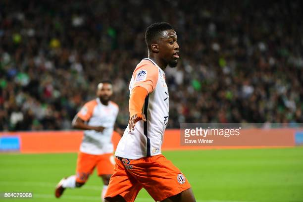 Isaac Mbenza of Montpellier celebrates scoring the only goal of the game during the Ligue 1 match between AS SaintEtienne and Montpellier Herault SC...