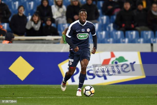 Isaac Mbenza of Montpellier during the French Cup match between Montpellier and Lyon at Stade de la Mosson on February 7 2018 in Montpellier France