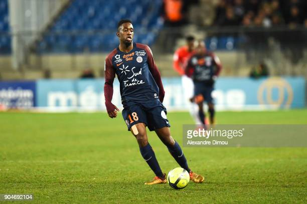 Isaac Mbenza of Montpellier during the Ligue 1 match between Montpellier and Monaco at Stade de la Mosson on January 13 2018 in Montpellier France