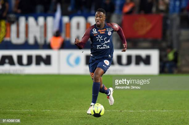 Isaac Mbenza of Montpellier during the Ligue 1 match between Montpellier and Angers at Stade de la Mosson on February 3 2018 in Montpellier