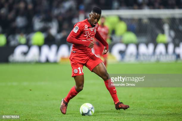 Isaac Mbenza of Montpellier during the Ligue 1 match between Olympique Lyonnais and Montpellier Herault SC at Parc Olympique on November 19 2017 in...