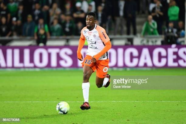 Isaac Mbenza of Montpellier during the Ligue 1 match between AS SaintEtienne and Montpellier Herault SC at Stade GeoffroyGuichard on October 20 2017...
