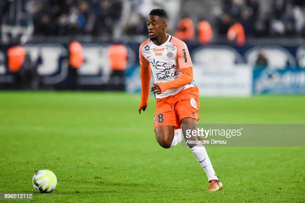 Isaac Mbenza of Montpellier during the Ligue 1 match between FC Girondins de Bordeaux and Montpellier Herault SC at Stade Matmut Atlantique on...