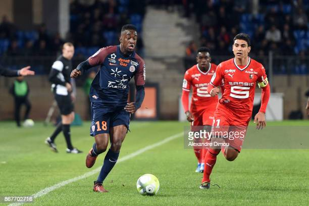Isaac Mbenza of Montpellier during the Ligue 1 match between Montpellier Herault SC and Stade Rennais at Stade de la Mosson on October 28 2017 in...