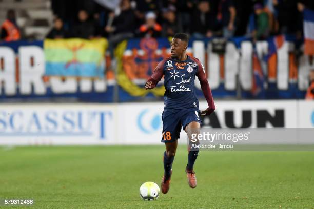 Isaac Mbenza of Montpellier during the Ligue 1 match between Montpellier Herault SC and Lille OSC at Stade de la Mosson on November 25 2017 in...