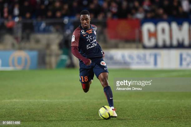 Isaac Mbenza of Montpellier during the Ligue 1 match between Montpellier Herault SC and EA Guingamp at Stade de la Mosson on February 17 2018 in...