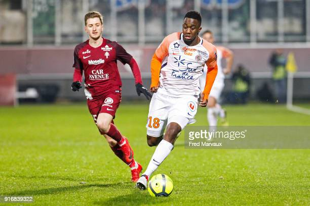 Isaac Mbenza of Montpellier during the Ligue 1 match between Metz and Montpellier Herault SC at on February 10 2018 in Metz