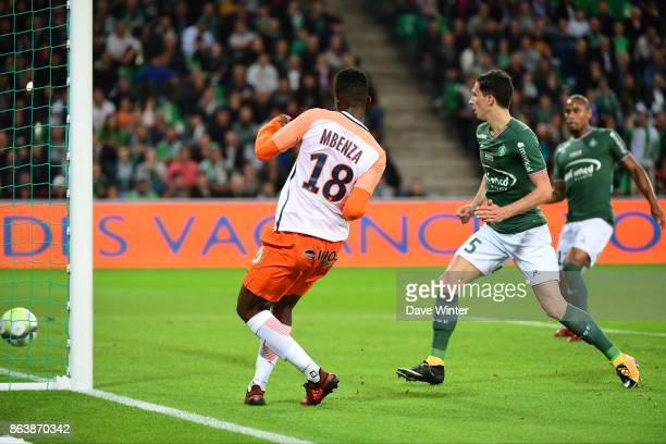 Isaac Mbenza of Montpellier puts his side 10 ahead during the Ligue 1 match between AS SaintEtienne and Montpellier Herault SC at Stade...