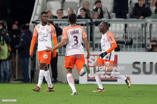 Isaac Mbenza of Montpellier reacts after his goal during the Ligue 1 match between FC Girondins de Bordeaux and Montpellier Herault SC at Stade...
