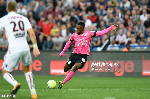 Isaac Mbenza of Montpellier scores second goal during the Ligue 1 match between Montpellier Herault SC and OGC Nice at Stade de la Mosson on October...