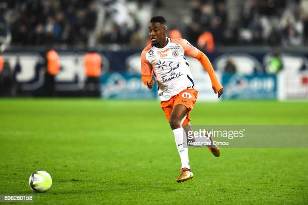 Isaac Mbenza of Montpellier scores the second Goal during the Ligue 1 match between FC Girondins de Bordeaux and Montpellier Herault SC at Stade...