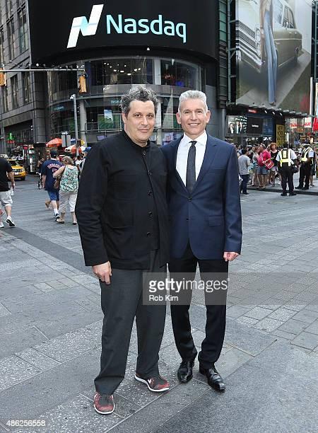 Isaac Mizrahi and Robert D'Loren attend Xcel Brands Inc rings The NASDAQ Closing Bell at NASDAQ MarketSite on September 2 2015 in New York City