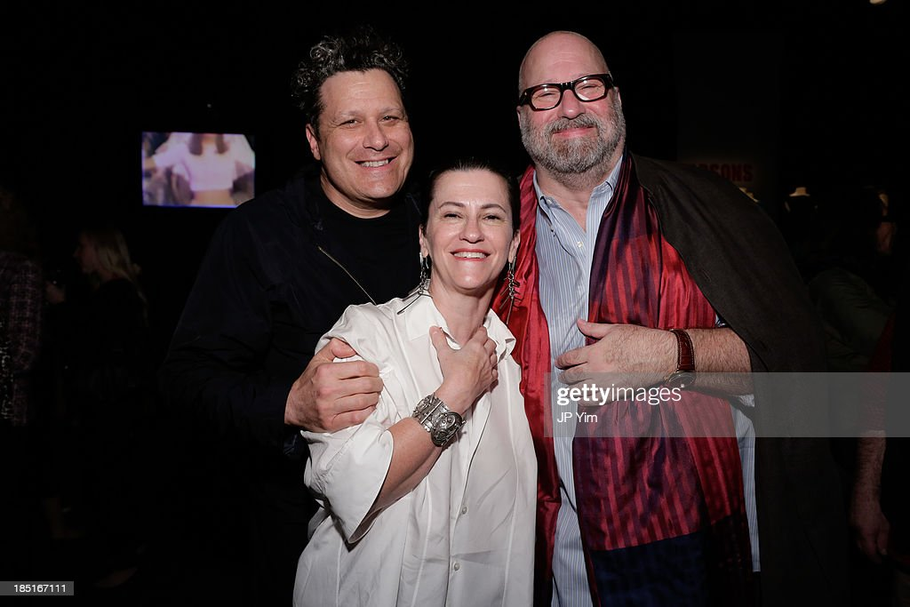 Isaac Mizrahi, Patricia Pastor and Jed Krascella both former executive vice presidents for design at Perry Ellis attend the 'Perry Ellis: An American Original' By Jeffrey Banks book launch hosted by the CFDA, Perry Ellis and Parsons the New School for Design on October 17, 2013 in New York City.