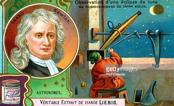 Isaac Newton English mathematician astronomer and physicist Portraint of Newton and scene showing the observation of a lunar eclipse at the start of...