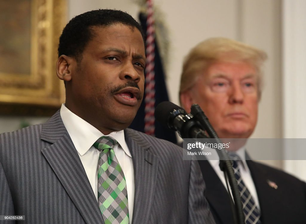 Isaac Newton Farris, Jr. (L) speaks before U.S. President Donald Trump signed a proclamation to honor Martin Luther King, Jr. day, in the Roosevelt Room at the White House, on January 12, 2018 in Washington, DC. Monday January 16 is a federal holiday to honor Dr. King and his legacy.