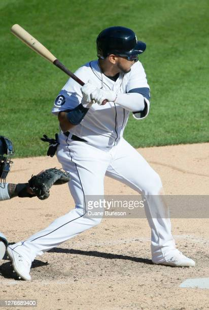 Isaac Paredes of the Detroit Tigers bats against the Cleveland Indians at Comerica Park on September 20 in Detroit Michigan