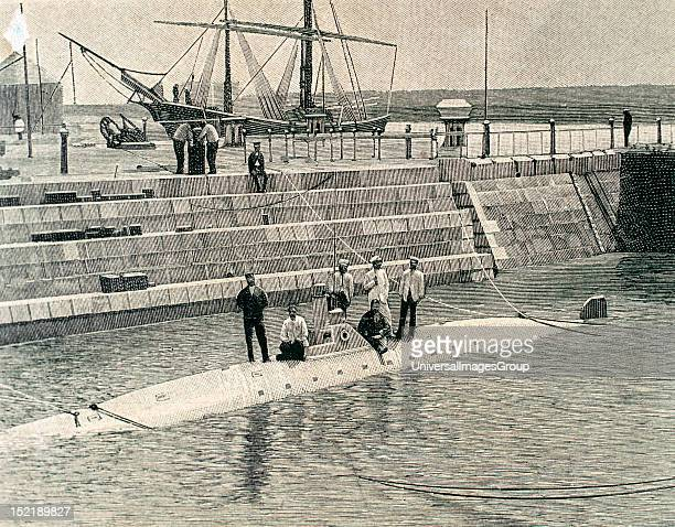 Isaac Peral Spanish engineer sailor and designer of the Peral Submarine Partial tests verified the Peral submarine in the dock of Arsenal de la...