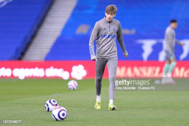 Isaac Price warms up before the Premier League match between Brighton and Hove Albion and Everton at the American Express Community Stadium on April...