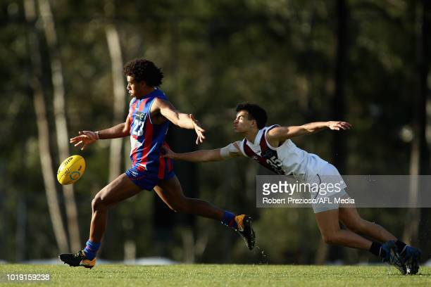 Isaac Quaynor of Oakleigh Chargers kicks during the TAC Cup round 15 match between Oakleigh Chargers and Sandringham Dragons at Avalon Airport Oval...
