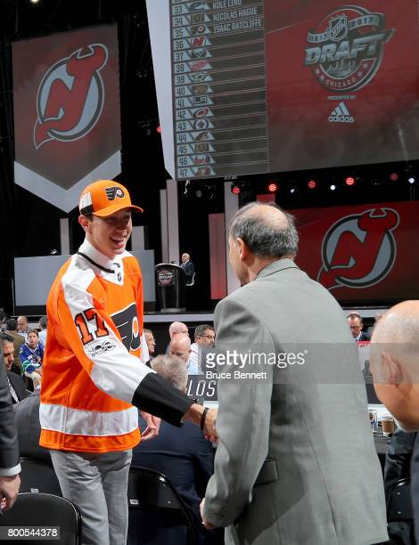 Isaac Ratcliffe meets with Philadelphia Flyers executives after being selected 35th overall during the 2017 NHL Draft at the United Center on June 24...