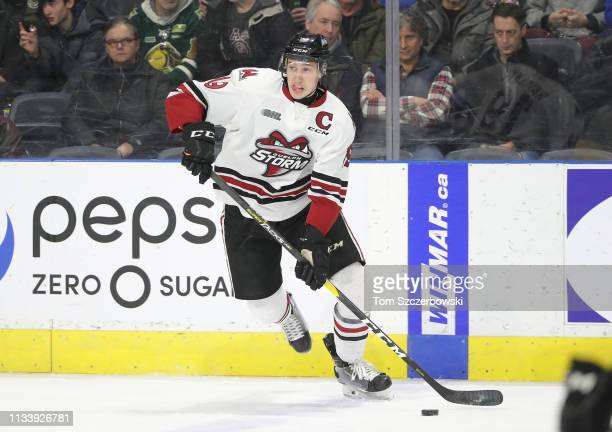 Isaac Ratcliffe of the Guelph Storm controls the puck in the first period during OHL game action against the London Knights at Budweiser Gardens on...