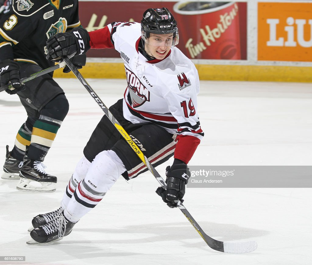 Isaac Ratcliffe #19 of the Guelph Storm skates against the London Knights during an OHL game at Budweiser Gardens on March 9, 2017 in London, Ontario, Canada. The Knights defeated the Storm 8-2.