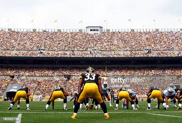Isaac Redman of the Pittsburgh Steelers lines up against the Tennessee Titans during the game on September 8 2013 at Heinz Field in Pittsburgh...
