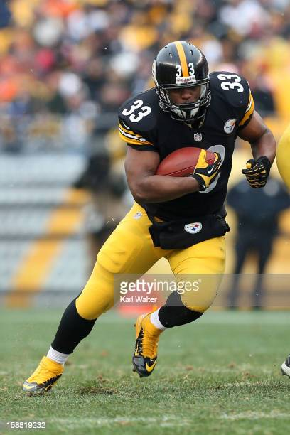Isaac Redman of the Pittsburgh Steelers runs the football during the game against the Cleveland Browns at Heinz Field on December 30 2012 in...
