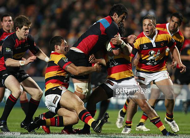 Isaac Ross of Canterbury charges forward during the round 13 ITM Cup match between Waikato and Canterbury at Waikato Stadium on October 22 2010 in...