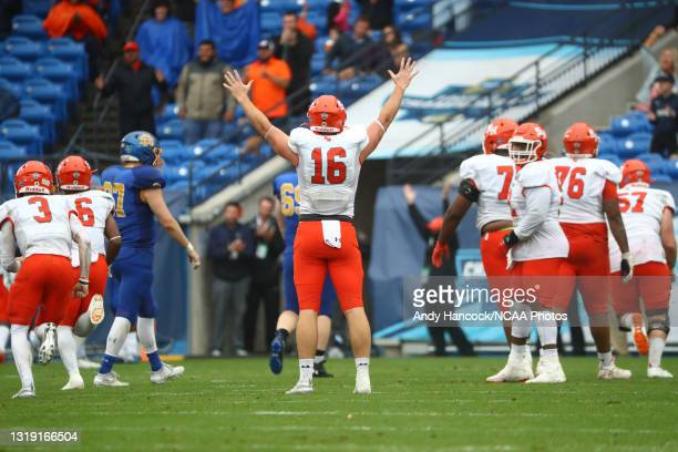 Isaac Schley of the Sam Houston State Bearkats reacts to a touchdown by Jequez Ezzard of the Sam Houston State Bearkats against the South Dakota...