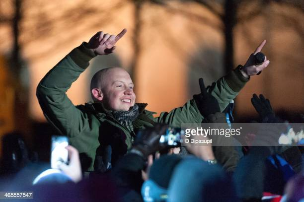 Isaac Slade of The Fray performs on stage during the Super Bowl Kickoff Spectacular at Liberty State Park on January 27 2014 in Jersey City New Jersey