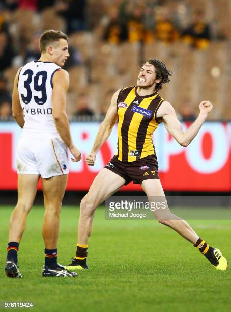 Isaac Smith of the Hawks celebrates a goal against Tom Doedee of the Crows during the round 13 AFL match between the Hawthorn Hawks and the Adelaide...