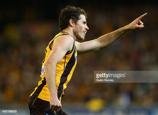 Isaac Smith of the Hawks celebrates scoring a goal during the AFL 2nd Preliminary Final match between the Hawthorn Hawks and the Port Adelaide Power...