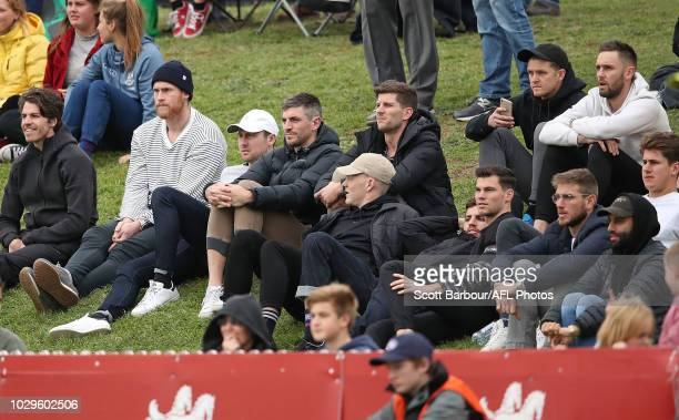 Isaac Smith of the Hawks Jarryd Roughead and Jaeger O'Meara of the Hawthorn Hawks watch from the crowd during the VFL Semi Final match between...