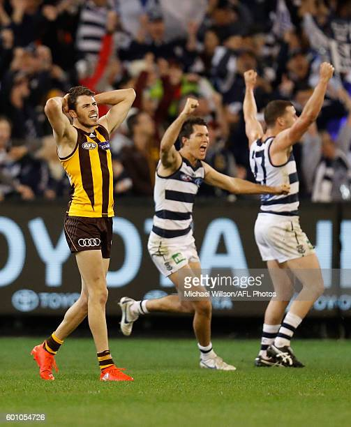 Isaac Smith of the Hawks reacts after missing a shot on goal after the siren to win the match during the 2016 AFL Second Qualifying Final match...