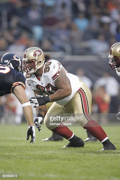 Isaac Sopoaga of the San Francisco 49ers blocks during the NFL game against the Chicago Bears at Soldier Field on August 21 2008 in Chicago Illinois...