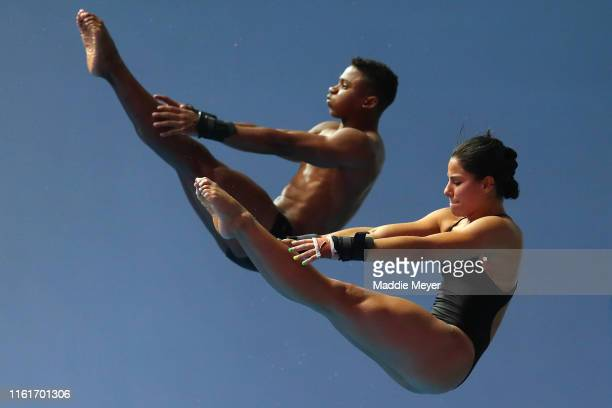 Isaac Souza Filho and Ingrid Oliveira of Brazil compete in the Mixed 10m Synchro Platform Final on day two of the Gwangju 2019 FINA World...