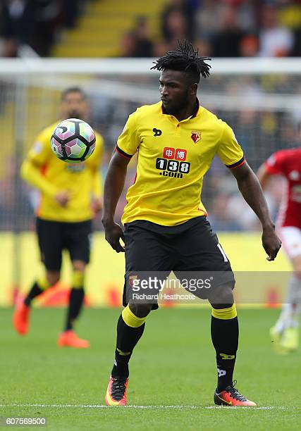 Isaac Success of Watford in action during the Premier League match between Watford and Manchester United at Vicarage Road on September 18 2016 in...
